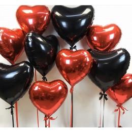 Черно-красный сердца - облако шаров