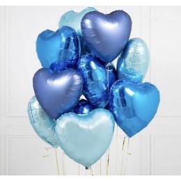 Облако сердец в голубых тонах (гелий)