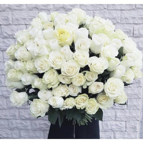 Роза белая 70-80 см - фото