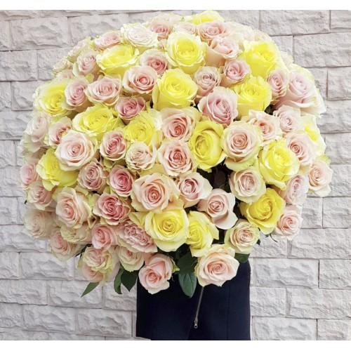 Роза кремовая, желтая 70-80 см - фото