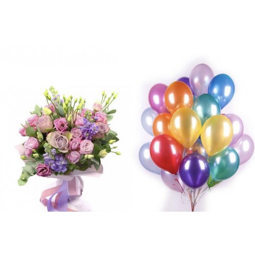 Набор гелиевых шаров к букету - фото