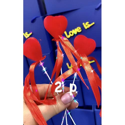 Сердце на палочке с лентами, цвет красный - фото