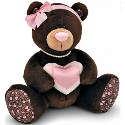 Плюшевый медведь с сердцем 14 февраля - фото