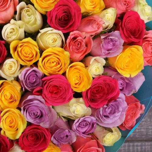 Розы 30 см микс - фото